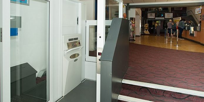 Internal platform lift inside the Empire Cinema in Bromley