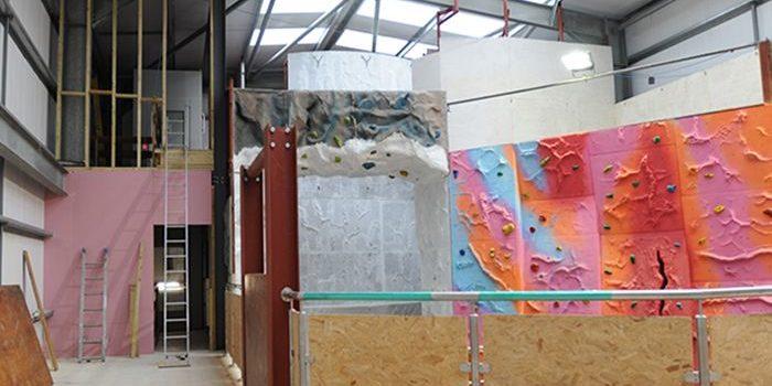 Kent Scouts multi-coloured rock climbing wall