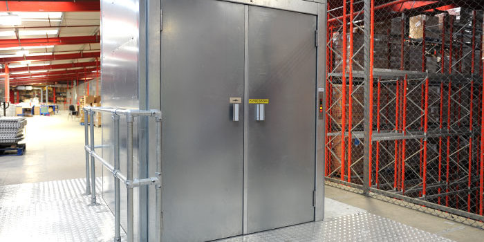 The Entertainer warehouse goods lift with doors closed