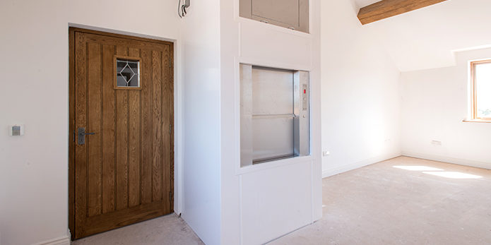 A dumbwaiter lift installed in a home environment