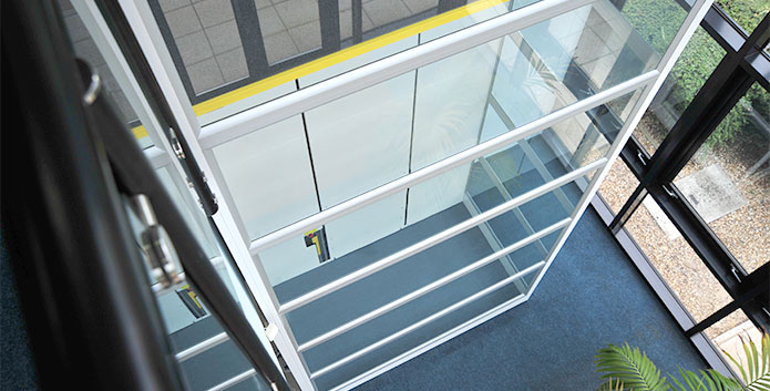 Top-down view of a passenger lift inside a building