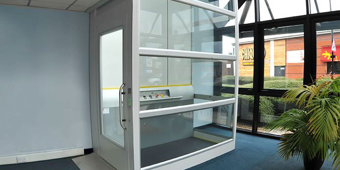 Fastlane Turnstiles encolsed platform lift for users with limited mobility
